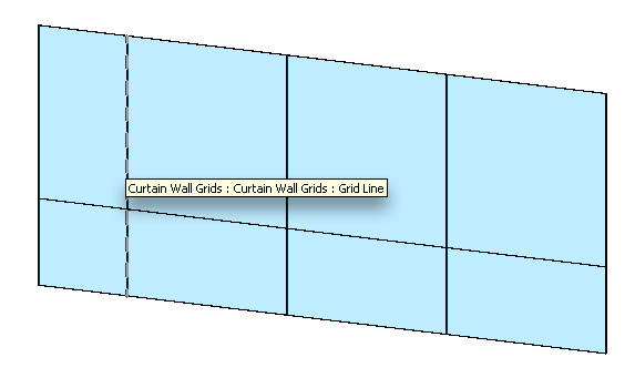 Curtain grids show a single dashed line when selected.